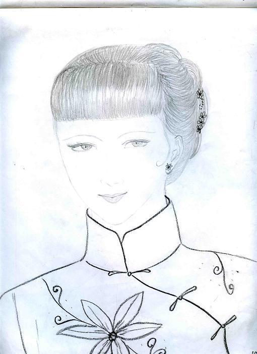卷发设计手绘图