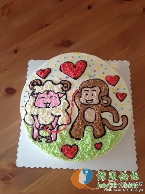 属羊生日蛋糕_一属羊的美女的生日蛋糕,她家亲耐滴属猴