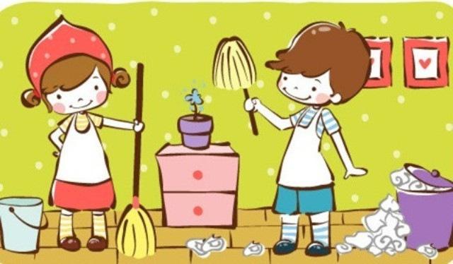 儿童擦桌子卡通图片
