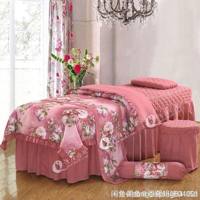 美容床四件套 美容床罩四件套亲肤棉欧式美容院美体美容熏蒸按摩床