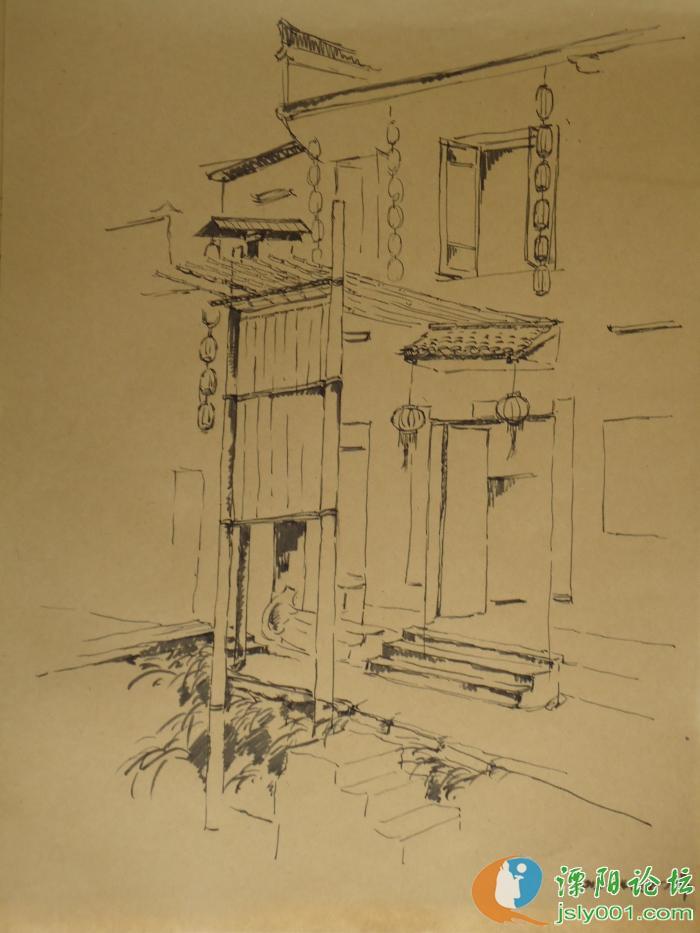 今年去安徽宏村写生画的速写
